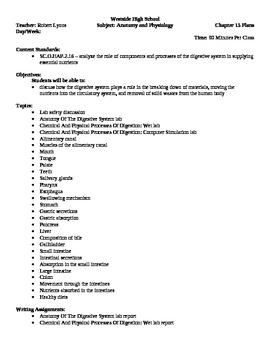Anatomy - Digestive System Block Schedule Lesson Plan
