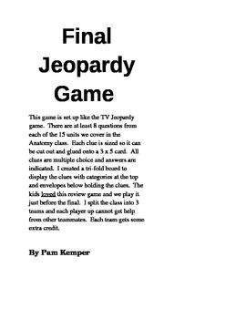 Anatomy Final Jeopardy Game Clues