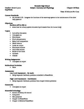 Anatomy - Fluid Balance Block Schedule Lesson Plan