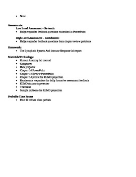 Anatomy - Lymphatic System Block Schedule Lesson Plan