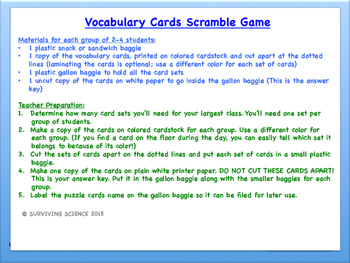 Anatomy/ Medical Terminology: Nervous System Vocabulary Scramble Game