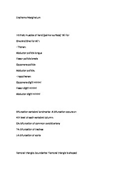 Anatomy Mnemonics for Students (Handout/Outline)