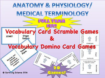 Anatomy & Physiology/ Medical Terminology Full Year Vocabulary Games Bundle!