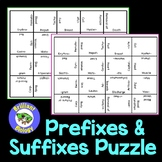 Anatomy & Physiology: Prefixes and Suffixes Puzzle