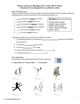 Anatomy & Physiology Review 1.2: Directional Terms, Body ...