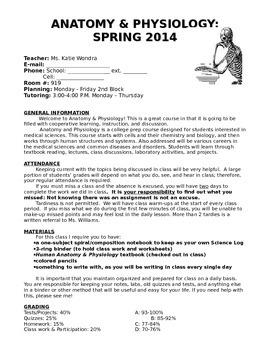 Anatomy & Physiology Syllabus