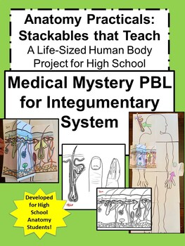 Anatomy Practicals-Life-Sized Integumentary System MEDICAL MYSTERY PBL!