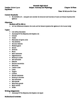Anatomy - Reproductive System Block Schedule Lesson Plan