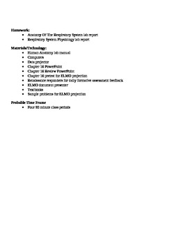 Anatomy - Respiratory System Block Schedule Lesson Plan