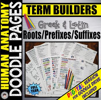 ANATOMY Root/Prefix/Suffix DOODLE PAGES ~Year Long Bundle~