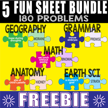 MATCH MANIA ~ 5 FUN SHEETS ~ Any Subject -180 Problems-