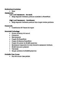 Anatomy - Types of Tissues Block Schedule Lesson Plan