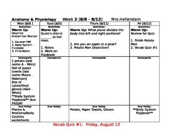 Anatomy Unit 1 Calendar Plan