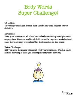 Anatomy Vocabulary Fun Body Words Super Challenge Cut and Paste Activity