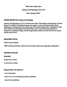 Anatomy and Physiology Syllabus and Course Outline