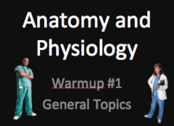 Anatomy and physiology warmups for 20 days