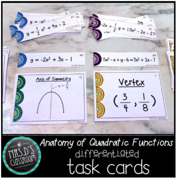 Anatomy of Quadratic Functions Differentiated Task Cards
