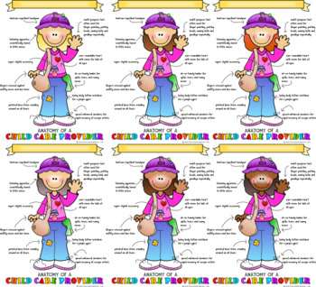 Anatomy of a Child Care Provider Print - Bundle Pack