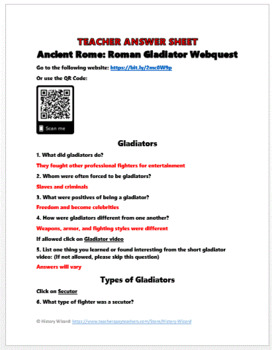 Ancient Rome: Roman Gladiator Webquest