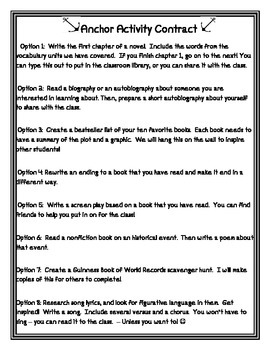 Anchor Activities for Language Arts