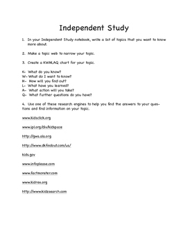 Anchor Activity:  Independent Project for Early Finishers