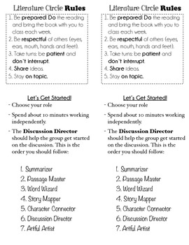 Anchor Cards for Literature Circles