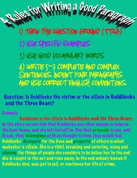 Anchor Chart: 4 Rules for Writing a Good Paragraph