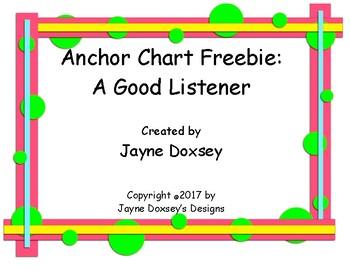 Anchor Chart Freebie A Good Listener