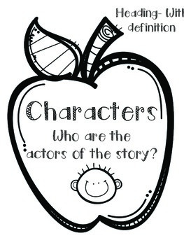 Anchor Chart Kit- Characters, Setting, and Events- Apple and Pencil Theme