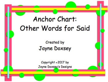 Anchor Chart Other Words for Said
