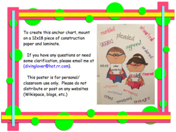 Anchor Chart Freebie Other Words for Said