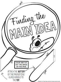 Anchor Chart Parts and Reading Response Prompt - Finding the Main Idea