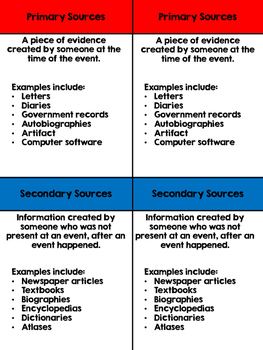 Anchor Chart: Primary and Secondary Sources