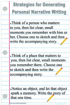 Anchor Chart-Strategies for Writing Personal Narratives