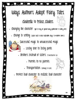 Anchor Chart: Ways to Adapt Fairy Tales