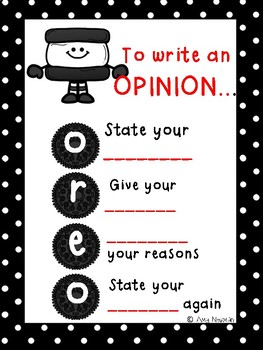 Anchor Chart for Opinion Writing-OREO