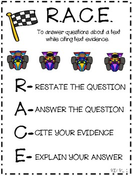 anchor chart for teaching race restate answer cite evidence and explain. Black Bedroom Furniture Sets. Home Design Ideas