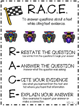 Anchor Chart for Teaching RACE- Restate, Answer, Cite Evidence and Explain