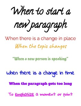 Anchor Chart for When to Start a New Paragraph