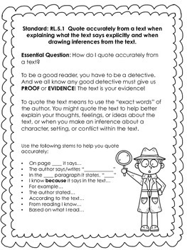 Anchor Charts and Activities for the Common Core: Reading Grade 5