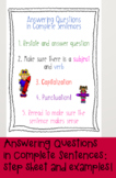Anchor Charts for Answering Questions in Complete Sentences