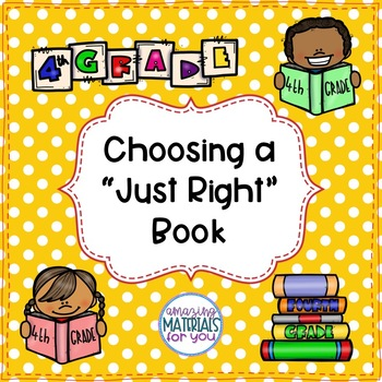 "Anchor Charts for Choosing ""Just Right"" Books 4th Grade"