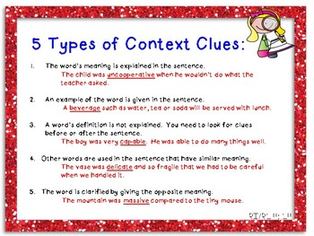 Anchor Charts to Teach Context Clues