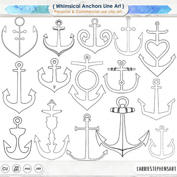 Anchor Black Line ClipArt, Nautical Classroom Graphics