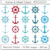 Anchor Clipart Sea Ship Wheel Clip Art Red Blue Turquoise Marine Nautical Helm