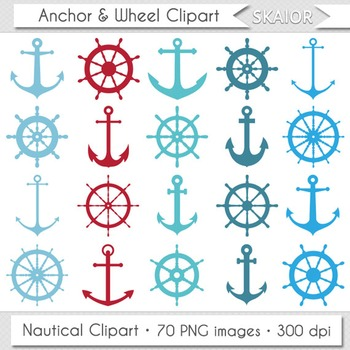 Anchor Clipart Sea Ship Wheel Clip Art Red Blue Turquoise Marine Nautical Helm