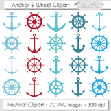 Anchor Clipart Sea Ship Wheel Clip Art Red Blue Turquoise