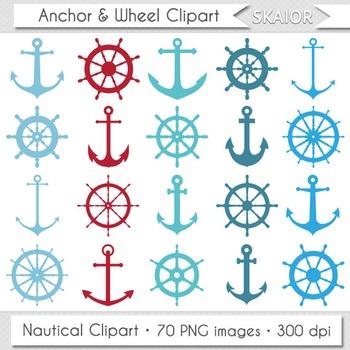 Anchor Clipart Sea Ship Wheel Clip Art Red Blue Turquoise