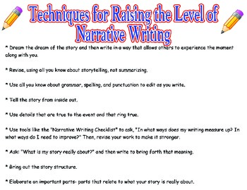 Anchor Poster for Raising the Level of Narrative Writing
