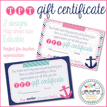 Anchor Theme for TpT Gift Certificate Editable